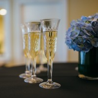 champagne and flowers-close up