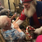 Santa's Drill Team went through the aisles shaking hands and greeting residents.