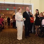 Everyone blew bubbles at the lovely couples as they entered the reception! Here come Regina and Lester.