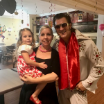 Elvis taking time to see his youngest fan, Ella!