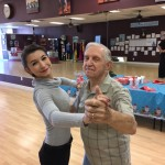 Megan, the Office Manager and winner of the first Arthur Murray Mentor program, dancing with the handsome George!