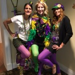 Merissa, Christina, and Christine showing off their Mardi Gras colors!