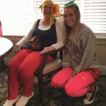 Eva and Shelbey competing over who has the most colorful pants on!